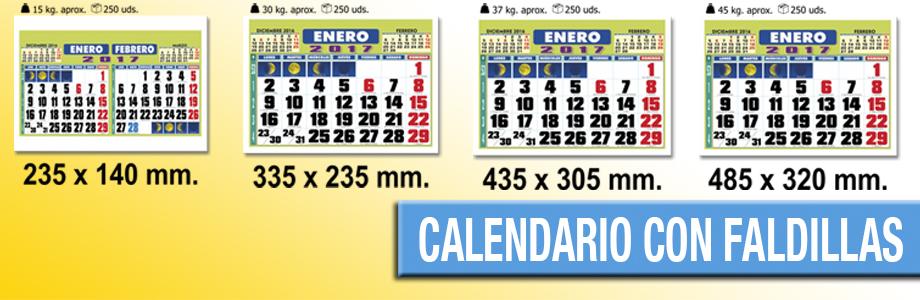 Calendario de pared con faldillas