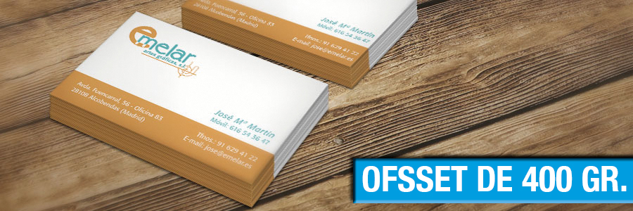 tarjetas de visita papel offset